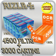 4500 Filtri RIZLA SLIM 6mm + 3000 Cartine OCB ORANGE CORTE ARANCIONI + ACCENDINO