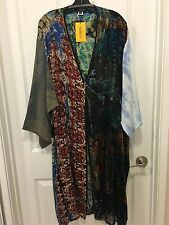 Citron Gorgeous Green&Red Floral Patchwork Velvet Silk Long Open Duster 0X