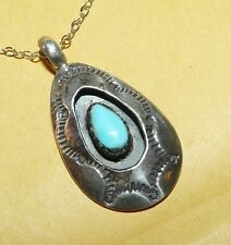 ~VTG~NATIVE~NAVAJO~STERLING~SILVER & TURQUOISE~ORNATE~SHADOWBOX~PENDANT~NECKLACE