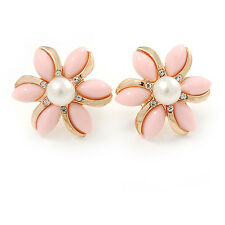 Baby Pink Acrylic, Crystal Flower Stud Earrings In Gold Tone - 20mm D