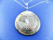 """Genuine Mother of Pearl Medallion Necklace 925 Sterling Silver 18"""" List $210"""