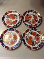 VINTAGE SET OF 4 IMARI 6 1/4 INCH ROUND PLATES MARKED WITH JAPANESE CHOP STAMP