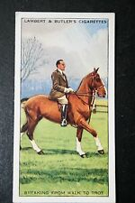 Horse Riding Skills   Breaking into a Trot   Original 1930's Vintage Card  VGC