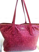 Cole Haan Deep Pink Woven Leather Large Tote Bag Purse Shopper Shoulder EXC