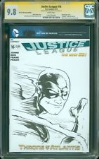 Justice League 16 Blank Sketch Cover CGC SS 9.8 Flash by Derrick Fish NM