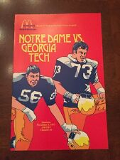 1977 McDonald's Official Football Program For Notre Dame Vs. Georgia,Joe Montana