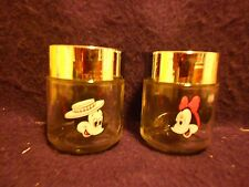 Vintage Walt Disney Mickey and Minnie Mouse Glass Salt and Pepper Shakers