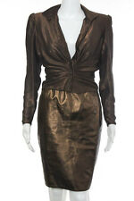 Emanuel Ungaro Parallele Brown Metallic Silk Crew Neck Button Down Ruched Blouse