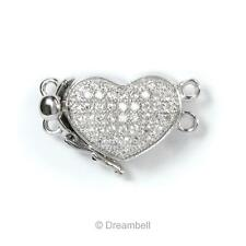 Rhodium Sterling Silver Love Heart 2 Strand Pearl Box Micro Pave Crystal Clasp