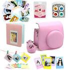 Fuji Fujifilm Instax Mini8 Instant Camera Set Bag Lens Album Sticker Border Pink