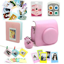 Fuji Fujifilm Instax Mini8 Instant Camera Set Bag Lens Album Sticker Border Pink