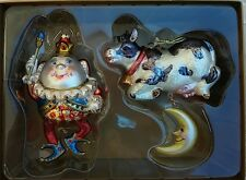 HUMPTY DUMPTY & COW JUMPED OVER THE MOON COLORFUL GLASS CHRSTMAS ORNAMENTS