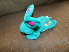 "Lisa Frank HOP DIGGITY Plush Bean Bag Stuffed Animal 1998 7"" long Teal BUNNY"
