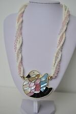 Pink Blue Mother of Pearl Swan Pendant Shell Crystal Heishi 3 Strand Necklace