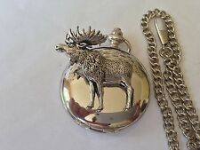 A47 Standing Moose polished silver case mens GIFT quartz pocket watch fob