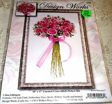 """Design Works Counted Cross Stitch Kit ROSE BOUQUET 10"""" x 17"""""""