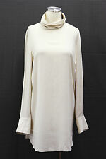 .NWT $1270 Brunello Cucinelli Womens Silk Crepe Chiffon Long Turtleneck Top Sz M
