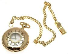 Gold coloured half hunter quartz pocket watch and chain