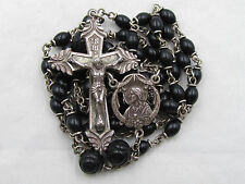 "† VINTAGE STERLING VATCIAN PILIGRAMAGE DOUBLE RING CAPPED ROSARY 30"" NECKLACE †"