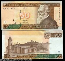 LITHUANIA 50 LITU P61 1998 EURO CATHEDRAL HORSE UNC CURRENCY MONEY BILL BANKNOTE