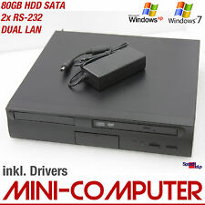 MINI COMPUTER PC 1500MHZ WINDOWS XP 7 80GB SATA DVD-ROM DUAL LAN NETZWERK QUAKE