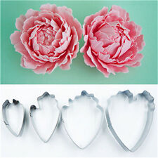 4pcs Peony Flower Cake Fondant Plunger Cutter Decorating Mold Sugarcraft Baking*