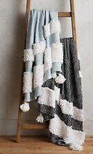 New Anthropologie Looped Tuva Black And White Throw Blanket 50x70