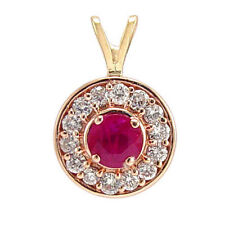 14k Rose (Pink) Gold Diamond and Ruby Pendant .80ct. #P398