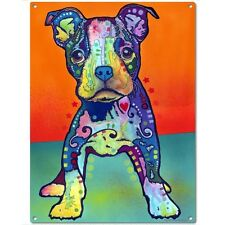 Pit Bull Puppy On My Own Dean Russo Dog Russo Sign Metal Wall Decor 12 x 16