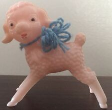 Vintage Easter Hollow Plastic Light Pink Standing Lamb Sheep Bow Figurine