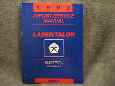 1993 Laser Talon Import Service Manual Volume 2 Electrical Manual Guide Y409
