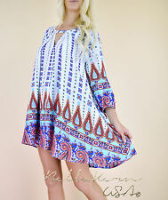 NWT JODIFL Colorful Ethnic Print Boho SWING FLARE Babydoll Tunic Summer Dress M