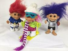 "Troll Doll Set Russ 5"" Lot 3 Vtg Sports Ski Football Baseball Colorado Rockies"