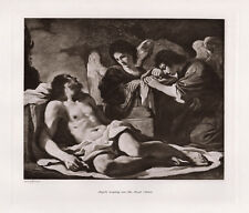 """GUERCINO Antique 1800s Print """"The Virgin & Angels Weep for Christ"""" SIGNED COA"""