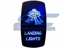 UTV Rocker Switch Blue Led On Off Landing Light Toggle Square 5 tab Dune Sand