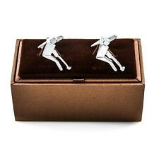 Golf Golfer Putting Putter Cufflinks Wedding Fancy Gift Box & Polishing Cloth