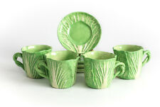 Qty of 4 Original Dodie Thayer Porcelain Lettuce Ware Leaf Cup and Saucers