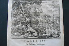 MYTHOLOGY D'ESOPE PRINT 18th C THE FOX AND THE CROW  DUDLEY BARLOW