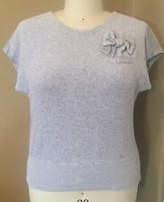 JUICY COUTURE GRAY SHORT SLEEVE SWEATSHIRT WITH V-NECK AND BOW DETAIL