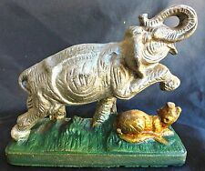 CAST IRON - ELEPHANT/TIGER FIGHTING - DOOR STOP - ANTIQUE/VINTAGE