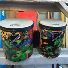 remo real bongos for kids 5 and 6 inch in good condition rain forest scene