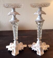 2 White Metal & Faux Crystal Shabby Pillar Candle Holders Decor Wedding Holiday