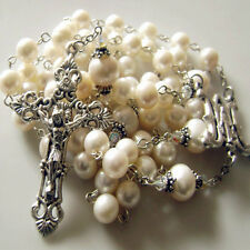 Real Pearl bead GIFT Cross Necklace lasso STERLING SILVER FATHER wedding rosary