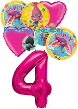 TROLLS POPPY 4TH BIRTHDAY PARTY BALLOONS BOUQUET DECORATIONS NUMBER FOUR