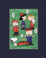 PEANUTS GANG~Mat Print~CHARLIE BROWN~Linus~Lucy~Sally~Xmas Songs~SNOOPY AT PIANO