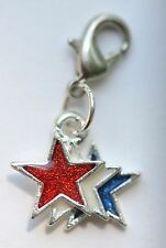 Patriotic Red White Blue Triple Star USA Lobster Claw Clasp Single Clip on Charm