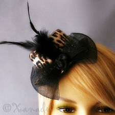Leopard Print Fascinator Hat Hair Accessory With Black Feathers