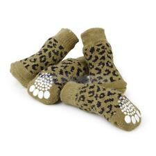 Leopard Print Pet Dog Puppy Cat Non-slip Socks Shoes Boots with Cute Paw Print M