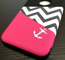 iPhone 6 / 6S - SLIM HARD HYBRID ARMOR SHOCKPROOF CASE PINK BLACK CHEVRON ANCHOR