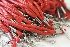 WHOLESALE ROPE ROUND ID NECK LANYARDS WITH SWIVEL J HOOK QUANTITY 100 PCS RED